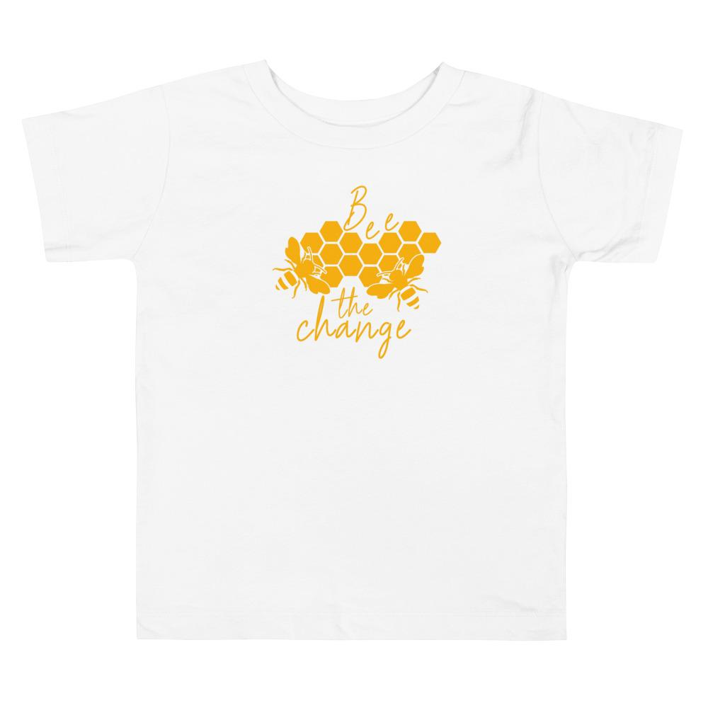 Bee The Change Toddler Short-Sleeve Tee in White - Connected Clothing Company - 10% of profits donated to The Honeybee Conservancy, supporting bee conservation and building bee habitats