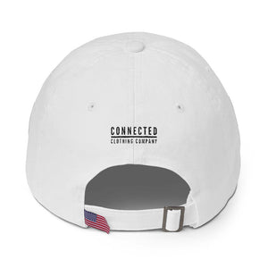 Back of White Giraffe Cotton Cap - Connected Clothing Company - 10% of profits donated to the Giraffe Conservation Foundation