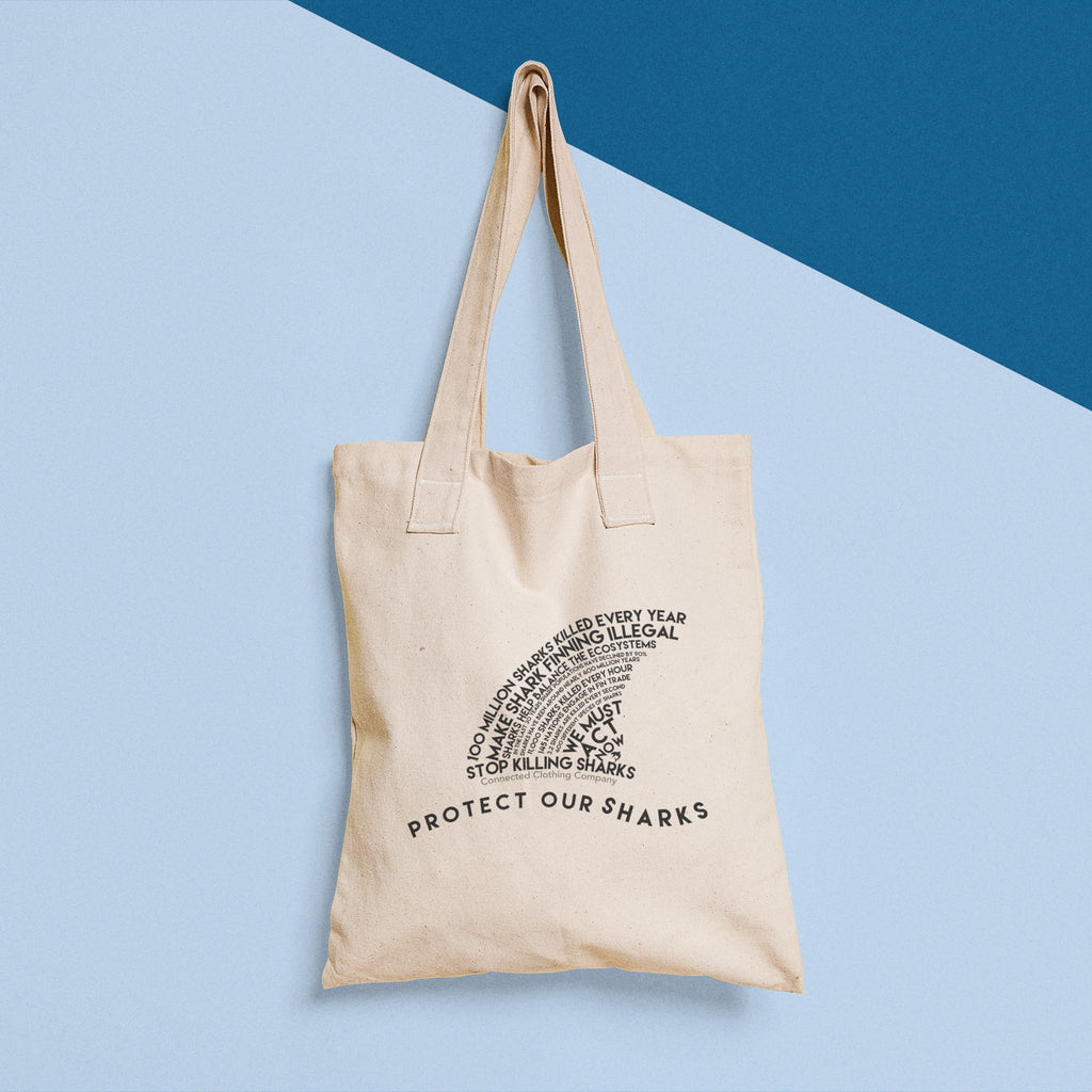 Protect Our Sharks Vintage Eco Tote - Connected Clothing Company - 10% of profits donated