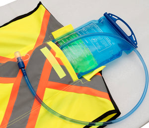 Reflective safety vest with water pack
