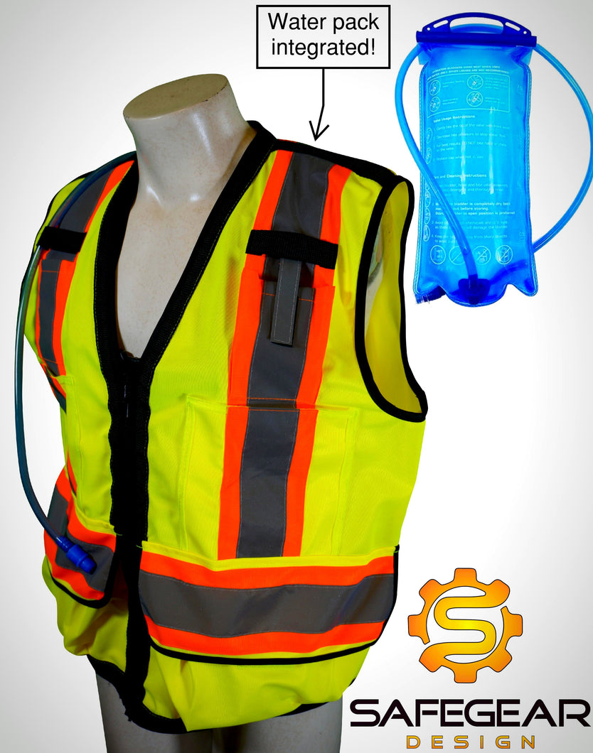 Reflective construction safety vest with hydration water pack with camelbak hiking back pack strap