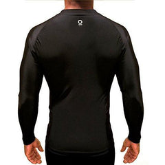 Black Long Sleeve Rashguard Compression Shirt | featuring UnderArm Mesh Cooling Panels - OPTIMAL HUMAN