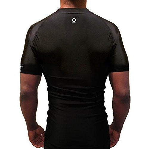 Black Short Sleeve Rashguard Compression Shirt | featuring UnderArm Mesh Cooling Panels - OPTIMAL HUMAN
