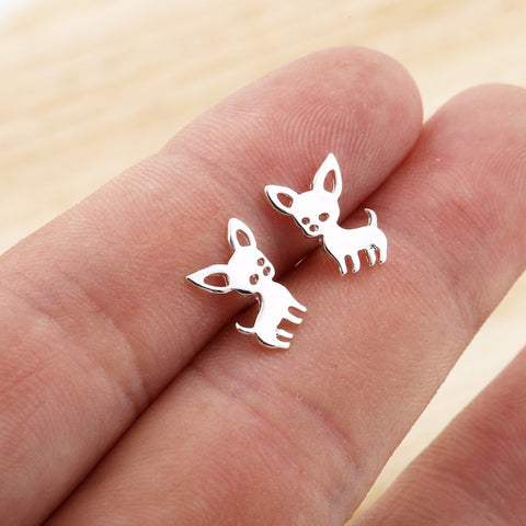 Chihuahua Earrings Animal Groove Silver Plated Small