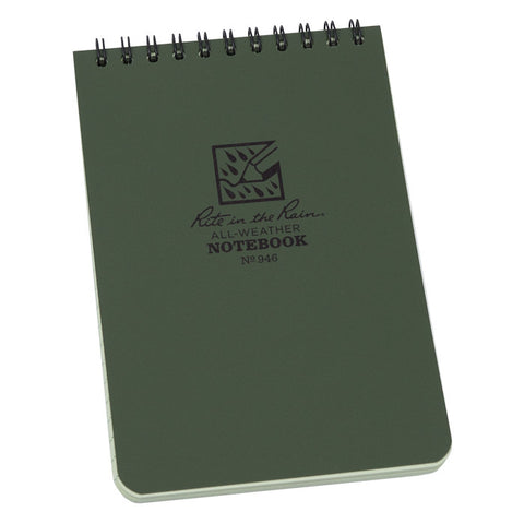 "Rite In The Rain Top Spiral Notebook 946 4"" x 6"" - Green"