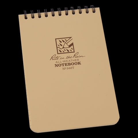 "Rite In The Rain Top Spiral Notebook 4"" x 6"" - Tan"