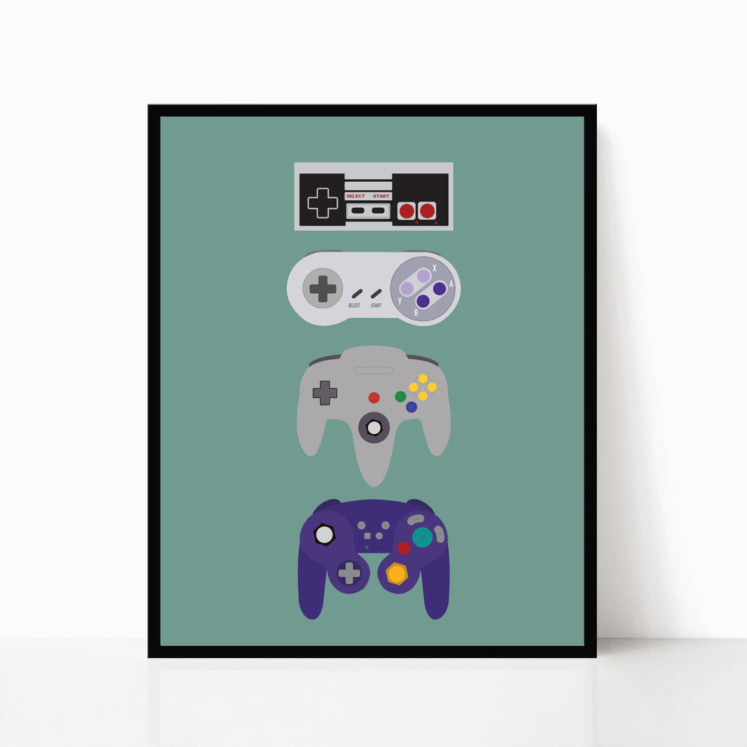 video game controllers retro gaming art