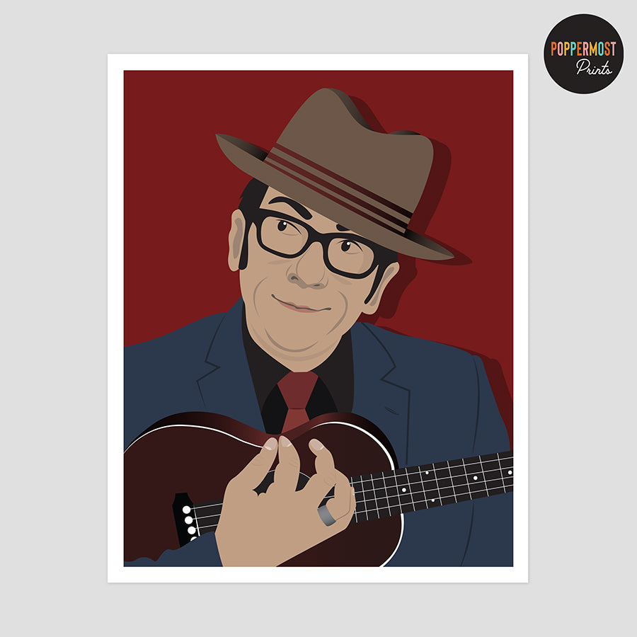 Elvis Costello Minimalist Portrait