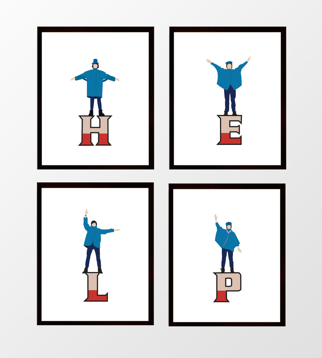 Beatles HELP Prints - Set of Four