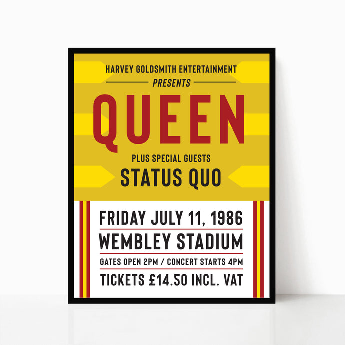 Queen At Wembley Stadium Gig Poster