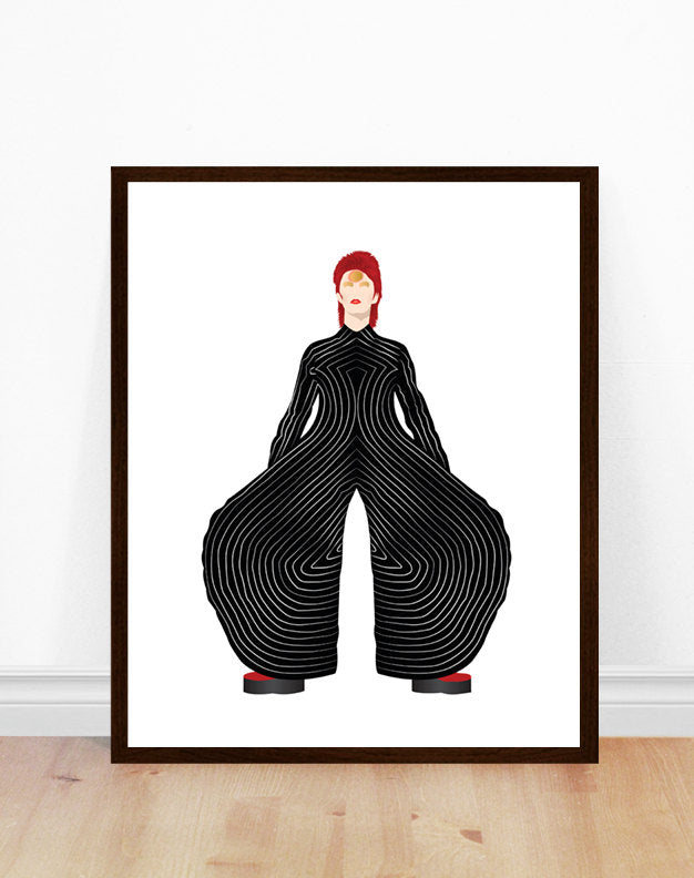 David Bowie Art Print,  Ziggy Stardust (Black Suit)
