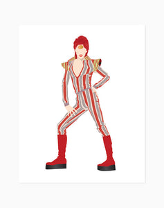 David Bowie Minimalist Print - Ziggy Stardust (Striped Jumpsuit)