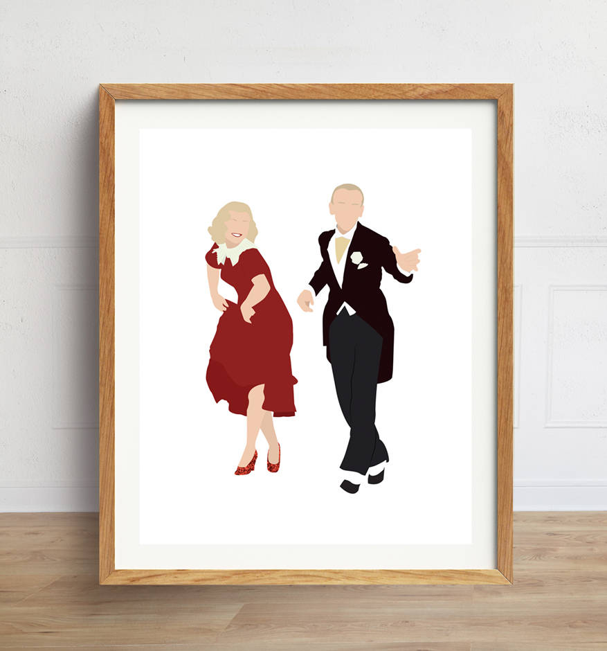 Fred Astaire and Ginger Rogers Minimalist Poster