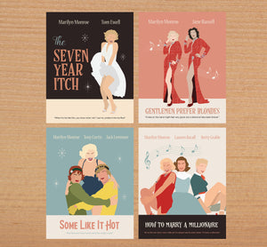 Marilyn Monroe Collection, Set of Four Movie Posters