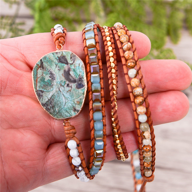 Infinity Ocean ™ Natural Ocean Jasper Leather Wrap Bracelet