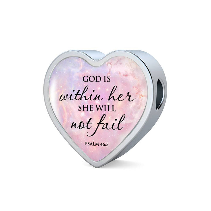 God Is Within Her She Will Not Fail - Heart Bracelet