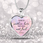God Is Within Her She Will Not Fail - Heart Necklace