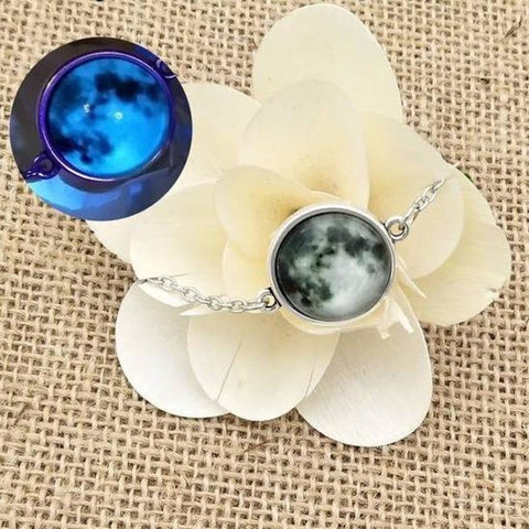 Image of Elegant Glow In The Dark Full Moon Bracelet Blue