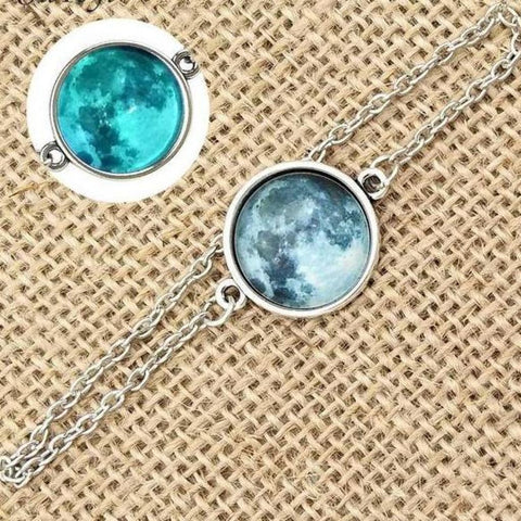 Image of Elegant Glow In The Dark Full Moon Bracelet Green