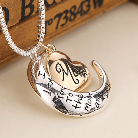 MOM Heart & Moon Crystal Necklace