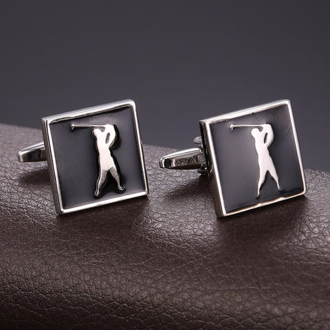 Image of Sporty Cufflinks For Mens Jewelry Gold Color Cufflinks Golf Jewelry