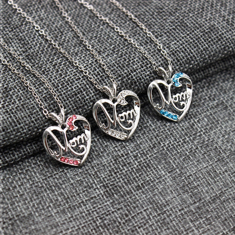Image of MOM Heart Crystal Pendant Necklace