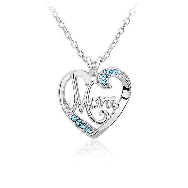 MOM Heart Crystal Pendant Necklace