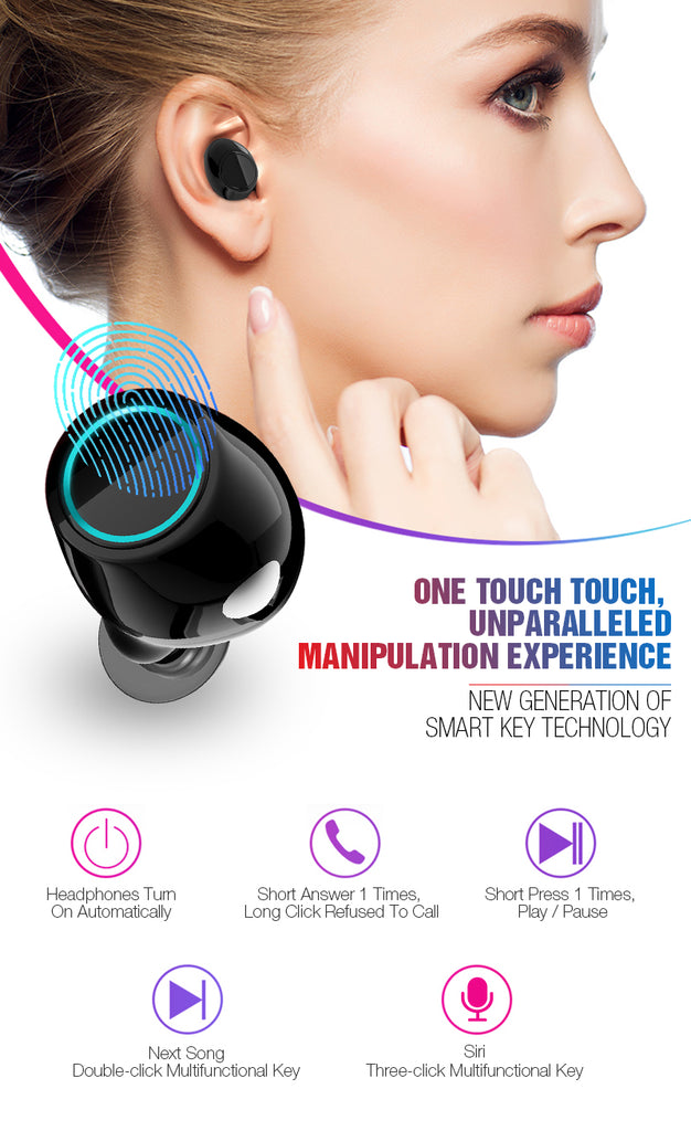 Wireless Earbuds Stereo Headset Touch Control