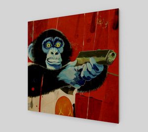 monkey gun (wood print)