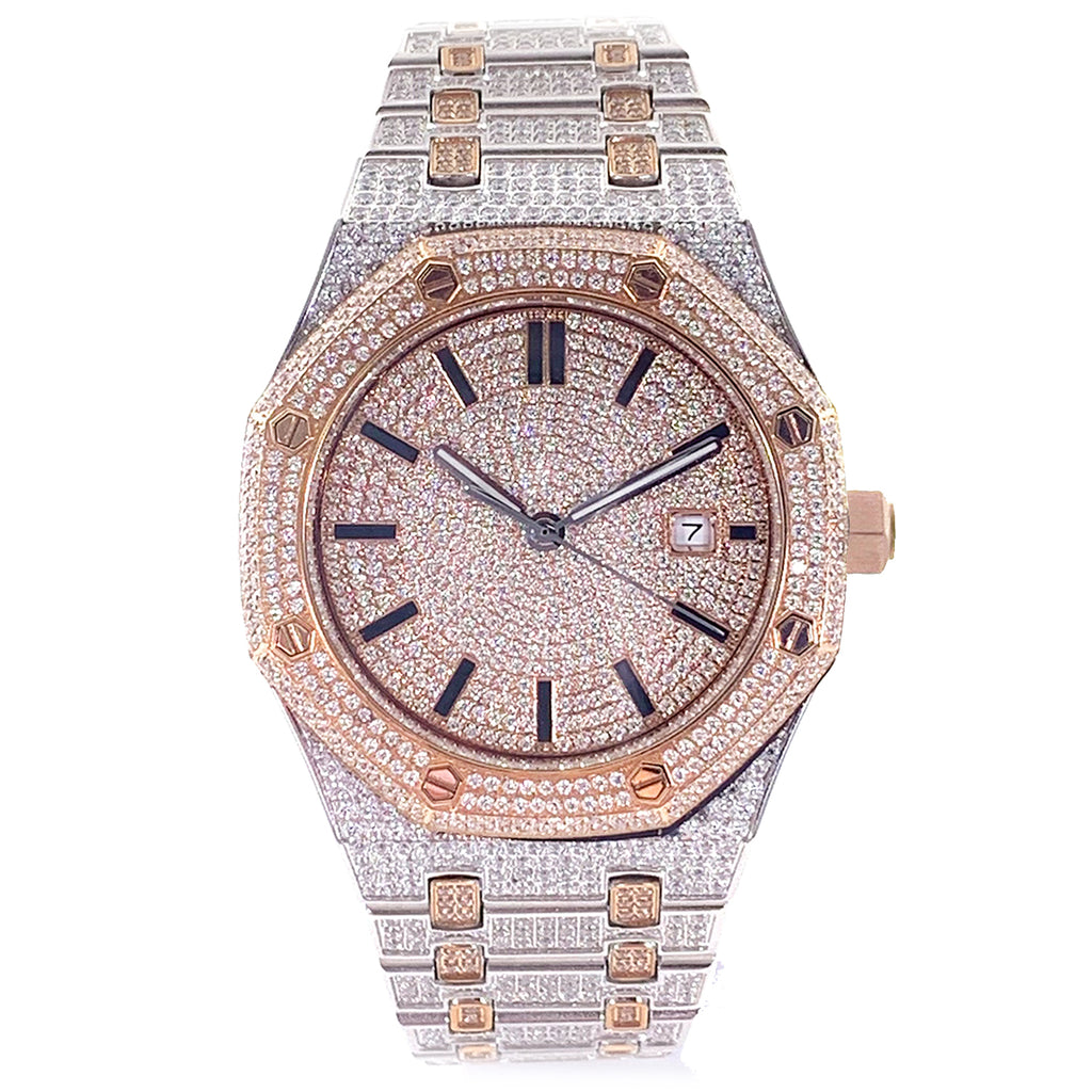 Rose Two-Tone Iced Out Watch [42mm]