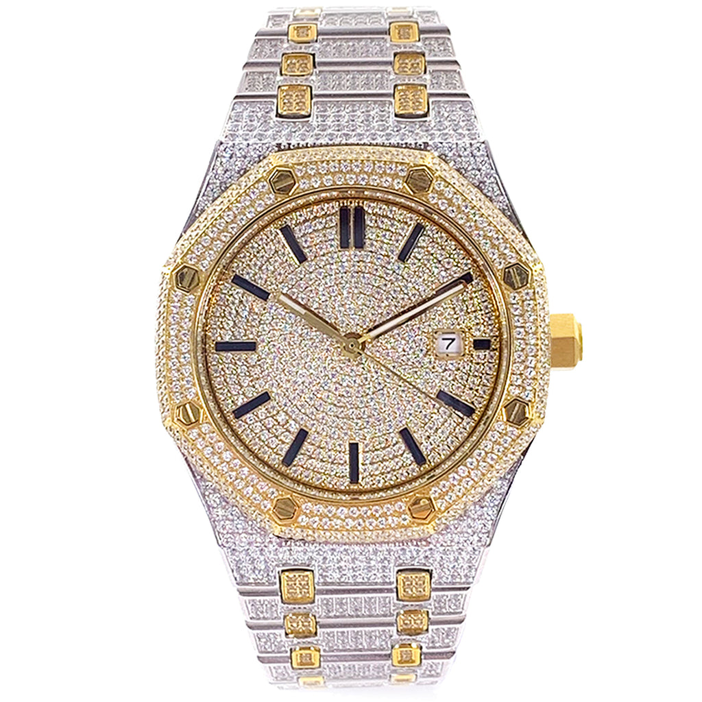 Yellow Two-Tone Iced Out Watch [42mm]