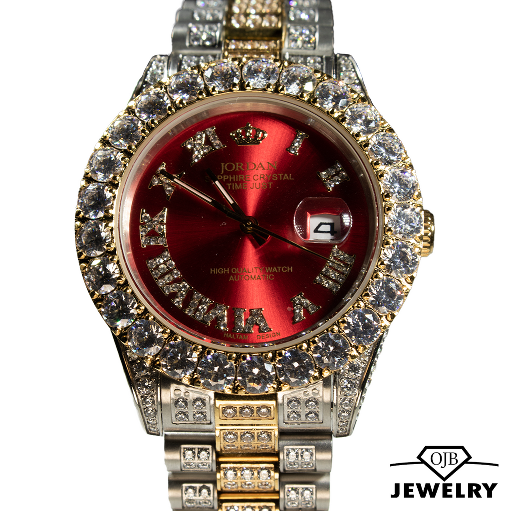 Iced Out Red Dial Jordan Watch