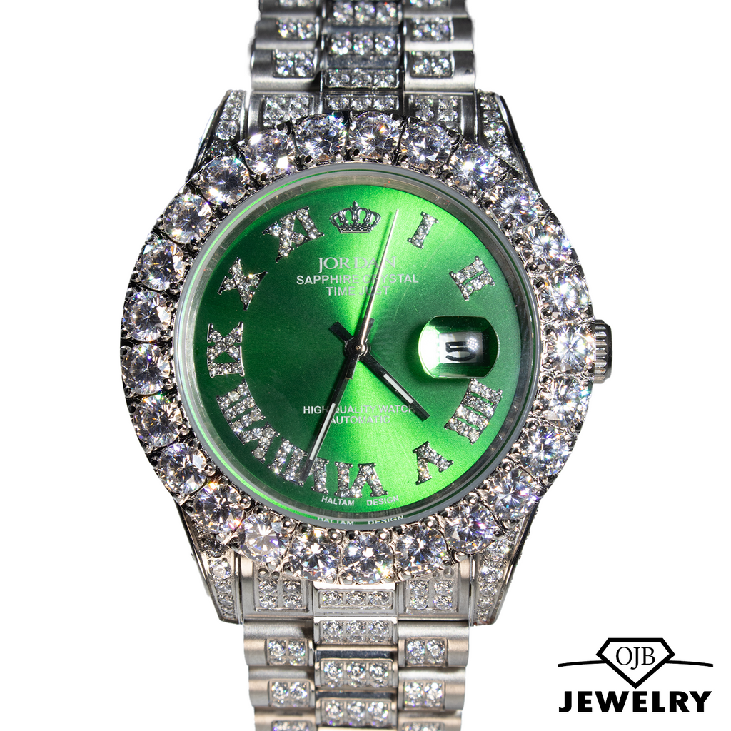 Iced Out Green Dial Jordan Watch
