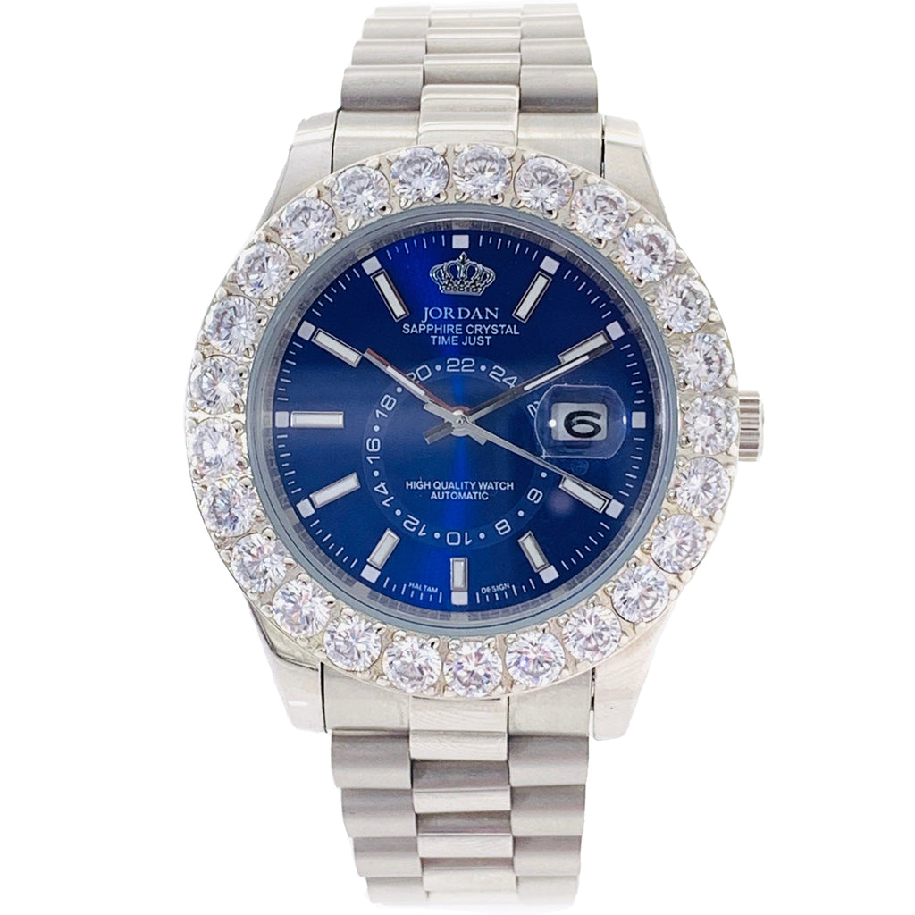 Blue dial Jordan watch with stones White
