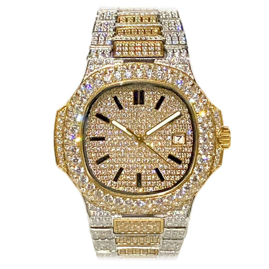 Gold Two-Tone Iced Out Watch [40mm]