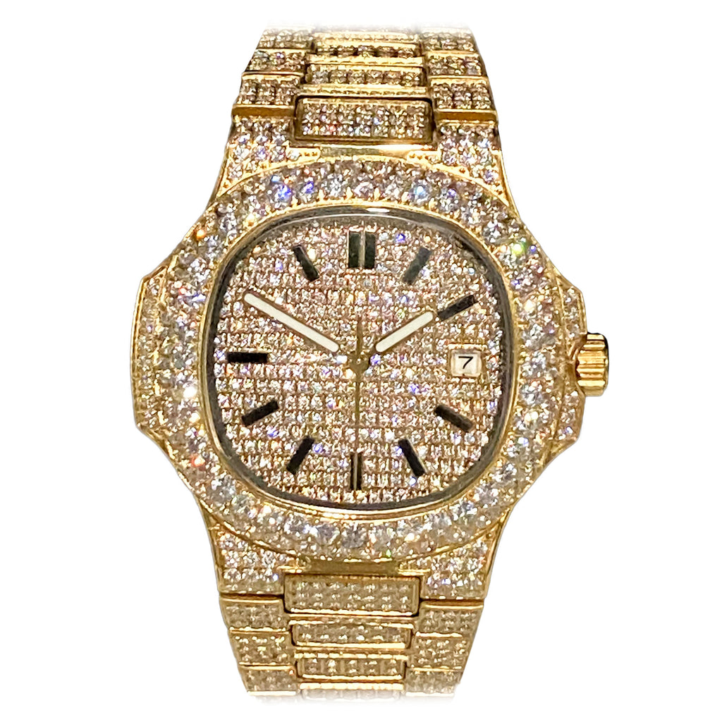 Yellow Iced Out Watch [40mm]