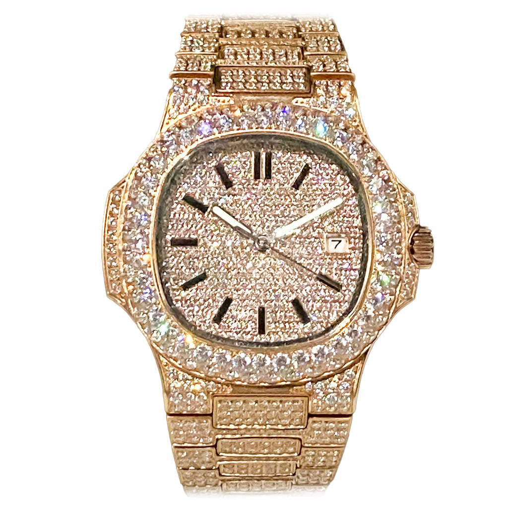 Rose Gold Iced Out Watch [40mm]