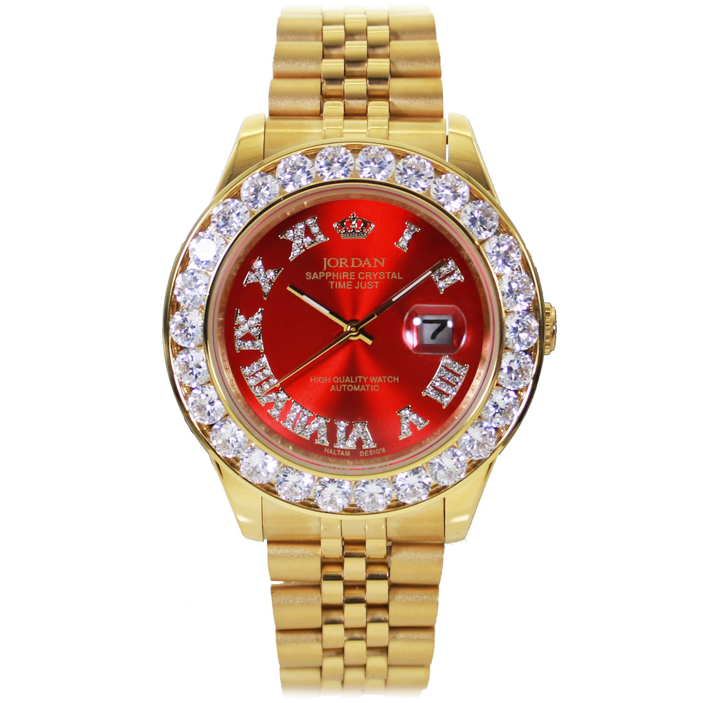 Gold Band Jordan Watch With Red Dial