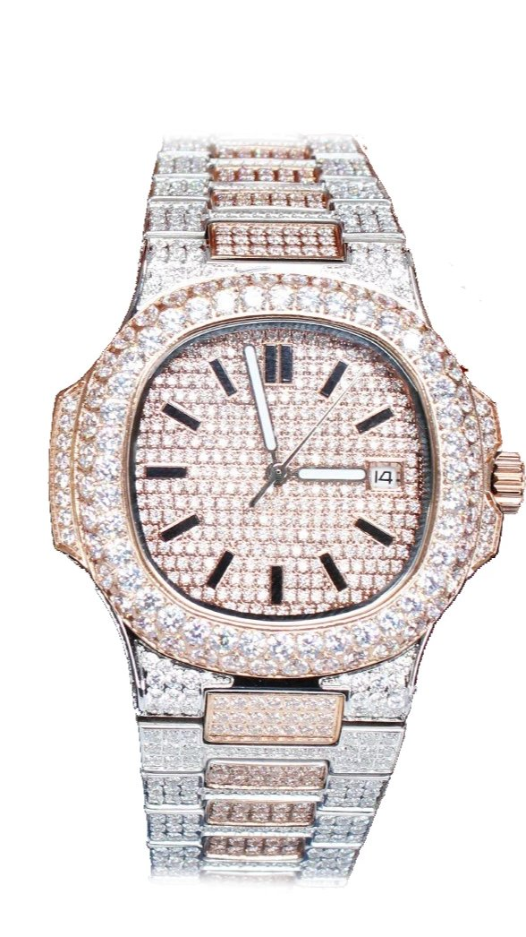 Two Tone (Rose/White) Iced Out Watch
