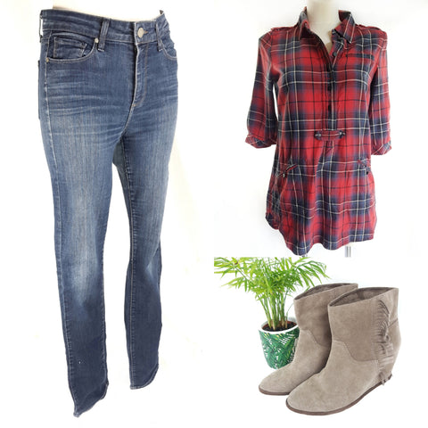 Buy your designer look second hand Paige jeans, Inwear shirt, Ash wedge boots