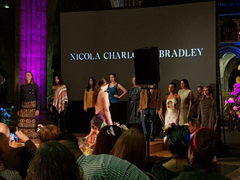 models wearing up and coming designer items slow fashion event exeter cathedral september 2018