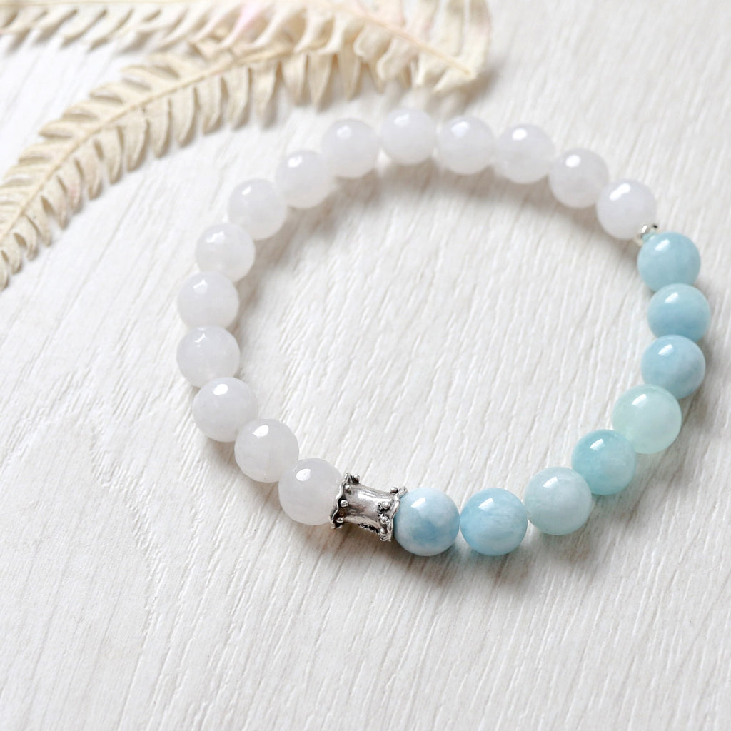 'Protection' Aquamarine And Crystal Quartz Bracelet