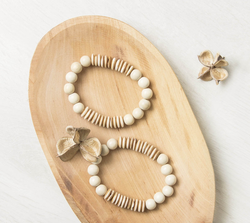 Hand Carved Bone Bead Bracelet
