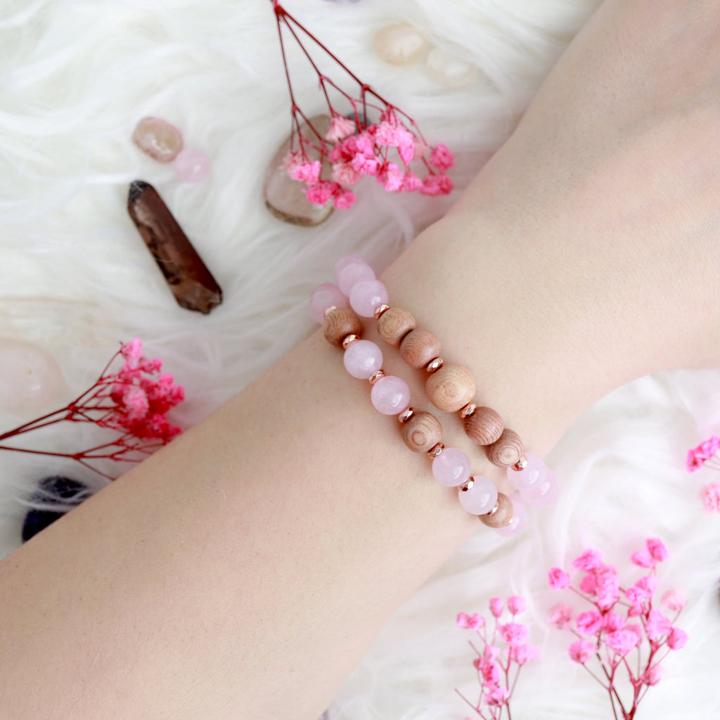 'Love And Peace' Rose Quartz Bracelet