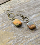 Natural Jasper Stone Dangle Earrings