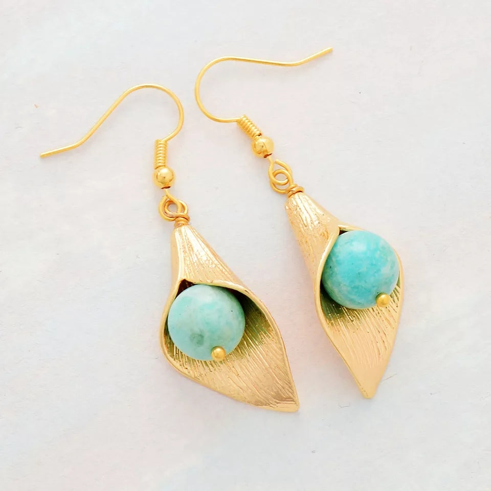 Natural Amazonite Long Earrings