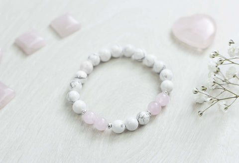 Healing Gemstone Bracelet - 'Release Anger' Rose Quartz And Howlite Bracelet