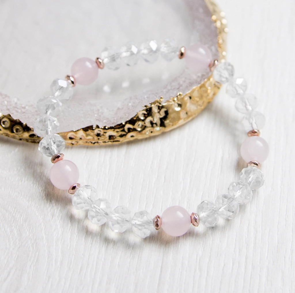 Rose Quartz And Hematite Crystal Bracelet