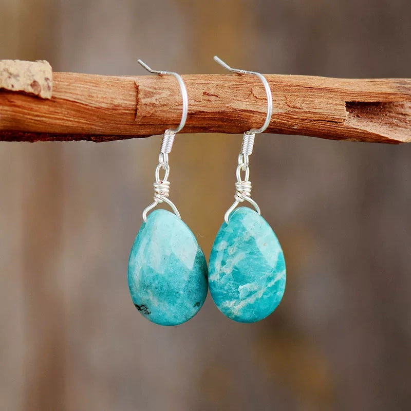 Natural Amazonite Teardrop Earrings