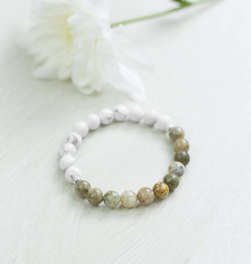 'I Am Calm' Beaded Bracelet Howlite Natural Stone